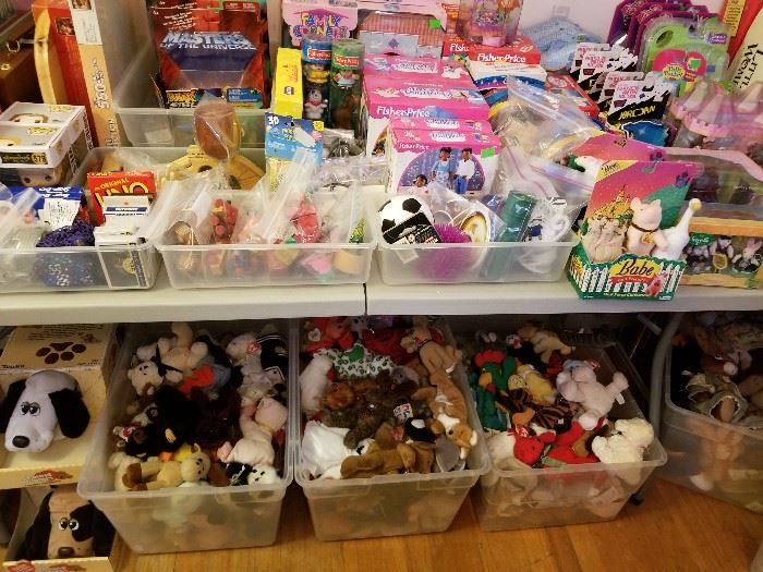 Pound puppies, Breyer horses, vintage board games, Ty and other beanies, New Kids on the Block figures, Polly Pocket playsets, etc.