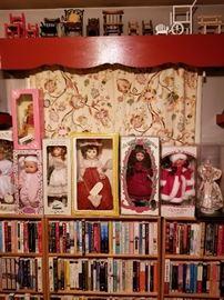 Effanbee, Hummel, Seymour Mann, Bob Mackie Barbie dolls, doll furniture; fiction novels.