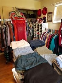 Vintage 50's and 60's dresses, Red Hat Society items, purses, men's and women's shoes, and clothing sizes 4-14, XL-3X,