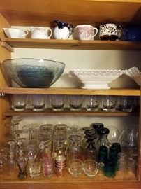 Vintage bar ware, glass and pottery.