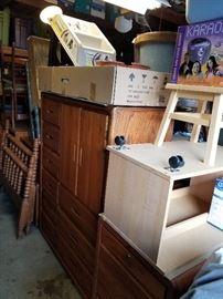 Twin bed frame, oak armoire, etc,