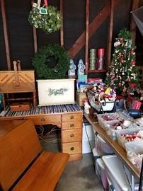 Antique school desk, vintage desks and sewing boxes, Christmas ornaments, lighting, and décor.