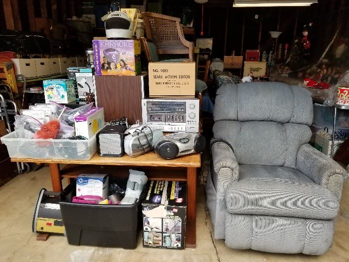 La-Z-Boy recliner/lift chair, oak desk, miscellaneous electronics and medical devices.