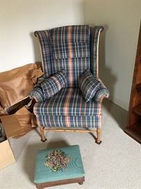 UPHOLSTERED WING CHAIR AND FOOTSTOOL WITH NEEDLEPOINT