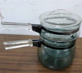 1960s Clear Glass Double Boiler Set  2 pots and ...