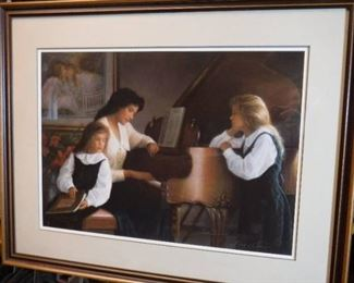 Signed and numbered girls around the piano framed ...