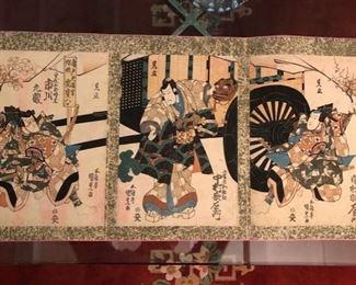 Kabuki triptych woodblock