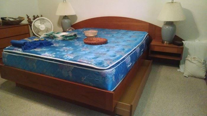 Queen size platform bed with storage