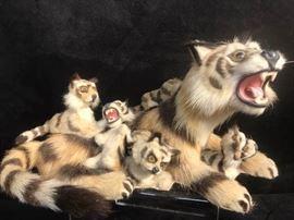 371j Fur Sewn Tiger and Cubs