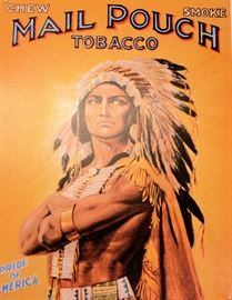 Native American Art for sale. Wonderful vintage Mail Pouch Tobacco art.