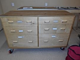 Mobile Worktable with Drawers