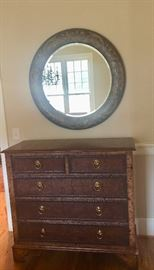 Maitland-Smith chest with round accent mirror