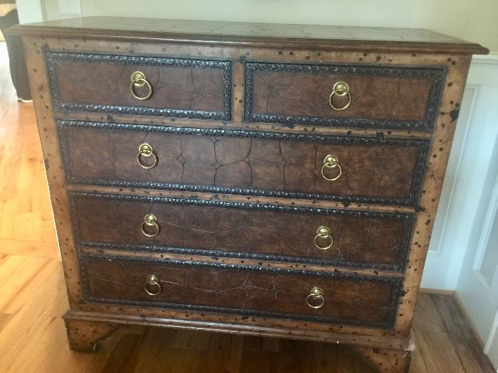 Maitland Smith 5 drawer chest with textured front