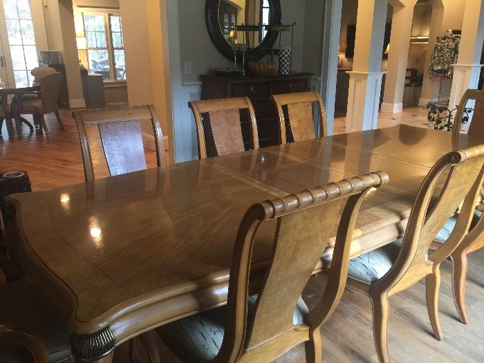 Dining room table includes 2 leaves and 6 side chairs and 2 arm chairs.  Made for Bernhardt furniture