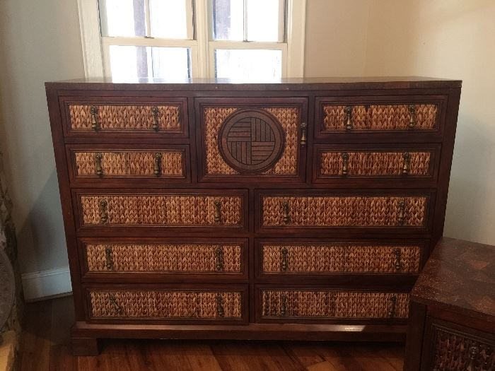 Beautiful and unique dresser with natural fiber front and Asian motif design