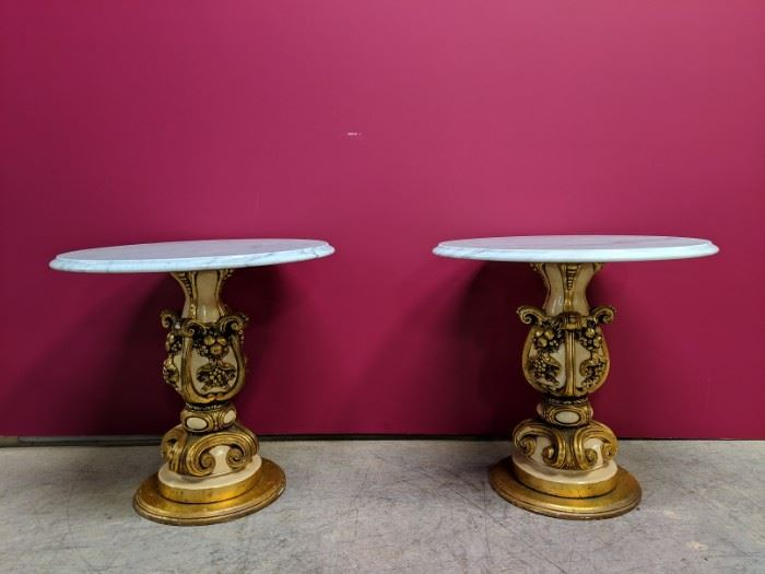 2 french marble top stands