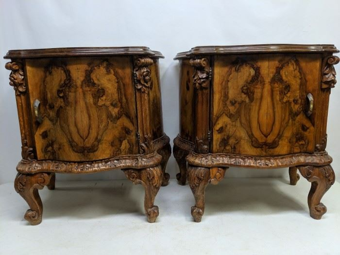 French nightstands with black glass etched tops
