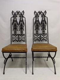 Mid century modern wrought iron chairs