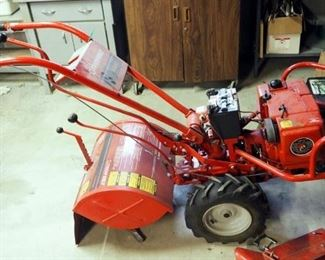 "Troy Built Horse Electric Start Rear Tine Tiller, Kohler Magnum 8 Horse Motor, With Forward And Reverse 18"" Wide Tines And Furrow Attachment"