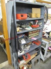 8 - Metal cabinet w/ contents 36.5x18x75