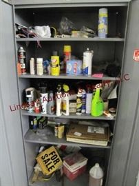 11 - Contents in cabinet: cleaners, brake fluid, WD40 &