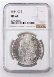 Lot 36 - Coin 1884 CC Morgan Silver Dollar NGC MS63