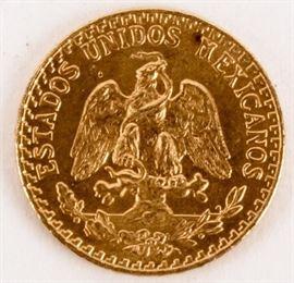 """Lot 101a - Coin 1945 Dos Peso Gold Coin BU """"2 Peso"""""""