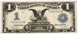 Lot 126 - Coin $1 U.S. Black Eagle Silver Certificate. Fine