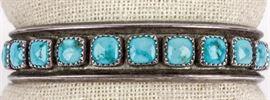 Lot 270 - Jewelry Sterling Silver & Turquoise Bracelet