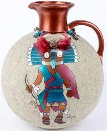Lot 373 - Large Decorative Kachina Image Southwest Pottery
