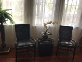 PR. WOVEN LEATHER ARM CHAIRS