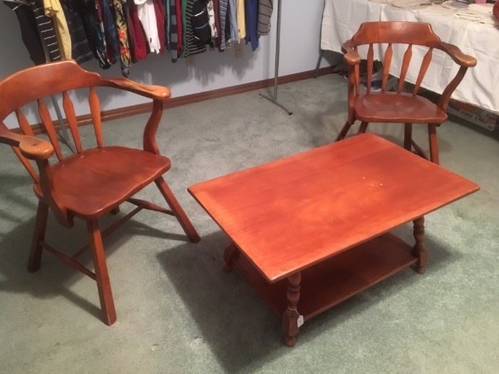 Maple arm chairs and coffee table