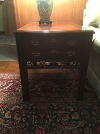 Mid century end table  with detailed woodwork
