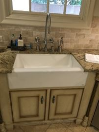 "33"" Kohler Farmhouse Sink and Wall Mount Faucet Set"