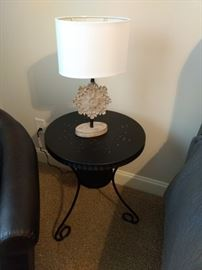 Cute metal end table with lamp!  There are several of these lamps throughout the house.