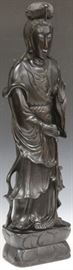 """LOT #2012 - EARLY CARVED QUAN YIN, POSSIBLY ZITAN, 30"""" H"""