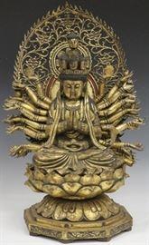 LOT #2025 - SINO-TIBETAN GILT CARVED FIGURE OF GODDESS