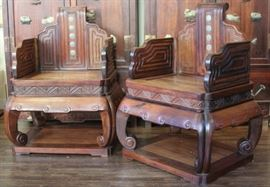 LOT #2106 - PAIR OF CHINESE CARVED CHAIRS W/ HARDSTONE INSERTS
