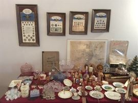 Coin collection framed. Bottles of prefume ,souvenirs items.