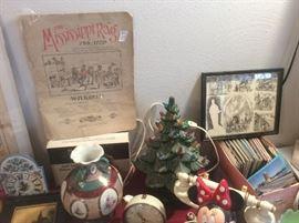 Post cards.  Ceramic Christmas trees.