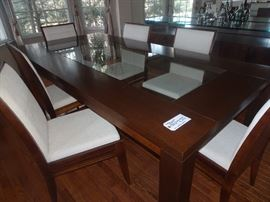 "Glamourous Contempory Dining Room Table with glass  insert & 6 Chairs. 87""L X 44""W X 30""H"