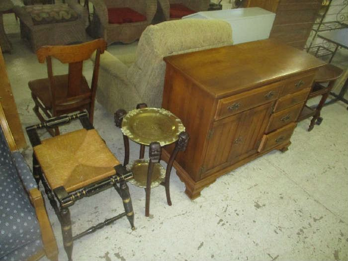 Hitchcock stool, table and chair