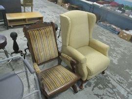 Platform rocker and wingback chair