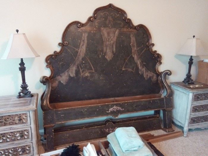 Hand Carved King Size Bed - $2000