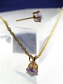 14K Gold Amethyst Pendant Necklace  Earring