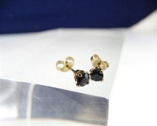 14K Gold Sapphire Post Earrings