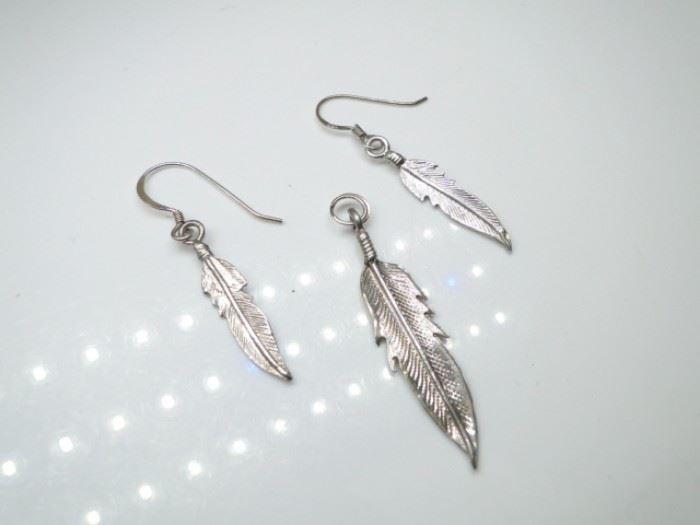 925 Sterling Feather Pendant & Earrings (2)