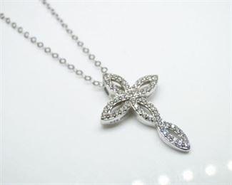 925 Sterling Silver CZ Cross Pendany Necklace