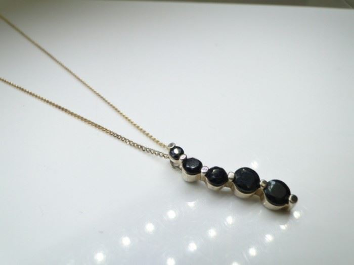 Gold over 925 Silver Sapphire Necklace