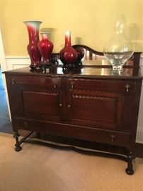 Antique sideboard with felt lined drawer for silver.  Matches dining room table.